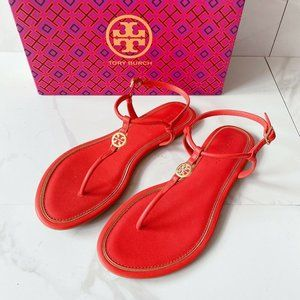 Tory Burch Emmy T Strap Thong Flat Sandals Leather
